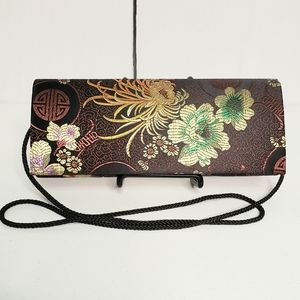Asian Inspired Floral Fabric Clutch